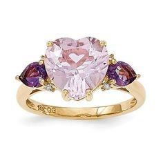 14k Pink Yellow Gold Rose De France Quartz & Amethyst & Diamond Ring :http://www.stormgems.co.za/product/14k-pink-yellow-gold-rose-de-france-quartz-amethyst-diamond-ring/