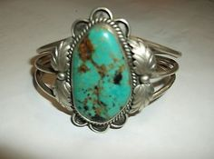 Vintage Very Large Turquoise and Sterling Silver Old Pawn Bracelet J Chavez