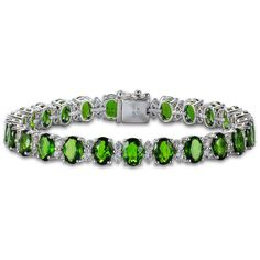 Womens Green Chrome Diopside Sterling Silver Link Bracelet ($750) ❤ liked on Polyvore featuring jewelry, bracelets, sterling silver jewelry, green jewelry, diopside jewelry, sterling silver jewellery and green jewellery