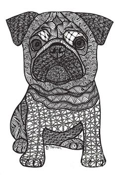 Pug Love Print By Dianne Ferrer