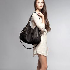 Black Leather Bag  Lotus Bag purse shoulder by opellecreative