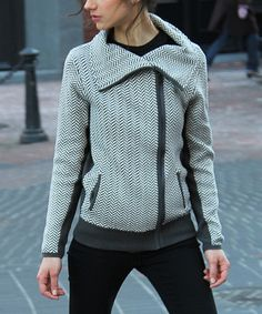 Another great find on #zulily! Graphite & Ivory Wide-Collar Zip-Up Jacket by funsport #zulilyfinds