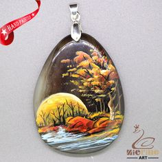 Hand Painte Scenery Pendant For Necklace Gemstone With Silver Bail   ZL807290 #ZL #Pendant