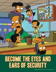 The Simpsons Safety Poster - Become the Eyes and Ears of Security Running Cartoon, Cartoon Tv, The Simpsons, Adult Animated Shows, Safety Message, Safety Topics, Safety Posters, Unique Poster, Safety Training