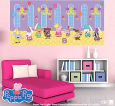 Peppa Pig Half Wall Murals so many great designs see more at http://www.wickedwalls.com.au/peppa-pig-murals.html