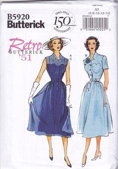 1950s Vintage Reproduction Pattern: Misses Dress, Belt & Slip. Butterick B5920 [[BOUGHT IT]]