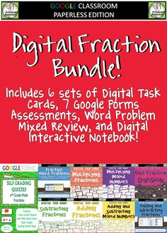 Fraction Operations Digital Resource Bundle!     Linked below are all 9 of the resources that are included in this bundle. Included are:    *6 sets of Digital Task Cards (150 Total Problems)    *7 Google Forms Assessments for all of the 5th Grade Fraction standards (70 Questions)    *Digital Interactive Notebook for Adding and Subtracting Fractions    *Mixed Review of 20 Fraction Word Problems with all 4 Operations