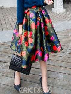 Ericdress Sweet Floral Print Usual Skirt  $18.03