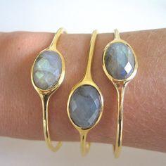 Labradorite Gold Gemstone Bangle