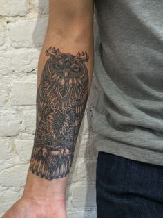 Owl tattoo by BioWorkZ and Sasha Masiuk