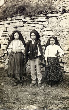 The three children of Fatima, Lucia, Francisco and Jacinta, who claimed the Virgin Mary came to them 6 times during 1917 to reveal 3 secrets. Portugal, 1917