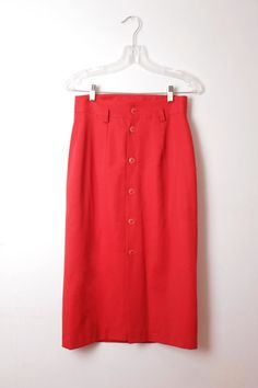 High Waisted Red Button Down Vintage Skirt by RepublicOvStyle Red Button, Vintage Skirt, Valentine Day Gifts, Red And White, High Waisted Skirt, Trending Outfits, Hot, Skirts, Indie