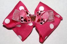 valentines bow pink polka dot by beckyblb on Etsy, $5.00
