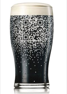 Unique use of QR code - must fill up the glass with Guinness beer to read the code.