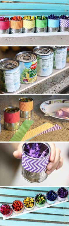DIY Büchsen Upcycling Idee - bastle einen Stifte Behälter mit schönem Papier