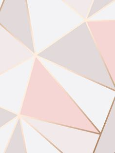 This Apex Geometric Wallpaper In Tones Of Pink White And Grey Features A Contemporary Pattern With Metallic Outline