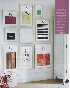 Some DIY ideas for those bags you love from your favourite store, but don't know what to do with. A great way to cut waste and re-use them!    http://laviedunenouvellefemme.blogspot.co.uk/2012/11/fashion-display-bag-it-frame-it.html