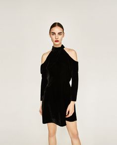 VELVET DRESS WITH CUT-OUT SHOULDERS-NEW IN-WOMAN   ZARA United States