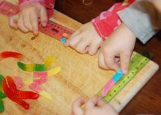 measuring gummy worms: measure whole worm, take a bite and measure again! Subtraction/find the unknown