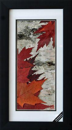 Crafts Leaves Maple Leaves on Birch Bark Circle Crafts, Leaf Crafts, Wood Crafts, Tree Bark Crafts, Birch Bark Crafts, Birch Tree Decor, Birch Branches, Birch Trees, Pressed Flower Art