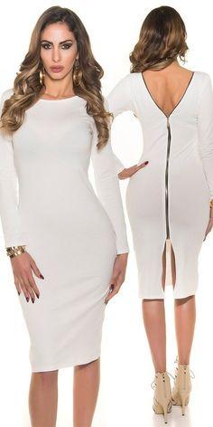 7d63b7259 Comprar Vestido blanco de moda cremallera posterior online Vestidos de moda  2018 lareinadeparis