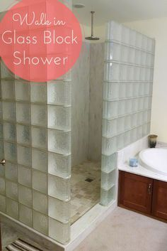 Walk in glass block showers are easy to clean and they get rid of cleaning the bottom of those nasty shower doors! Get glass block shower design ideas here - http://innovatebuildingsolutions.com/products/glass-block/glass-block-shower