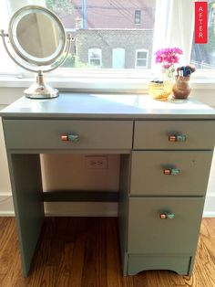 Before & After: From Drab Desk to Painted Vanity