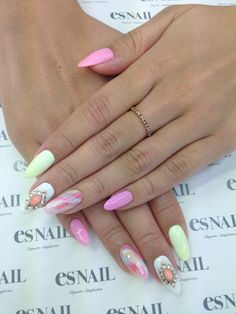 pastel almond shaped nails-so cute!