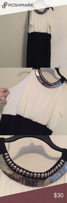 Dress Party dress.  Ivory top with black, rounded jeweled neckline.  Gorgeous. Black bottom. Dresses Wedding