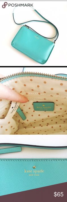 "Kate Spade Milka Ponds Janelle Crossbody -In excellent condition, no marks -Gorgeous Tiffany Blue color -Saffiano leather crossbody w/slim profile, zip closure, interior zip pocket & slip pocket -Last photo shows a modeled view /a different color -Measurements: 10""W X 6""H; 24"" strap -Comes w/KS dust bag & care card -Offers are welcomed (please refer to posting about how I handle offers…thanks!) -Sorry, no trade kate spade Bags Crossbody Bags"