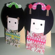 kids craft #kids japanese kids craft kokeshi dolls on card