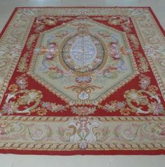 Hand-woven Roses Wool French Aubusson Flat Weave Red Rug~New~Free Shipping