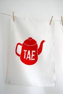 Love the red tea-pot on this beautiful 'Tae' tea towel, handprinted onto Irish linen, from Placed, an Irish language / Gaeilge homewares and stationery range. placed.etsy.com placedireland.blogspot.com See my post on motheach.blogspot.com