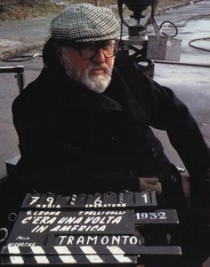 "Sergio Leone on the set of ""Once Upon a Time in America"" (1984)"