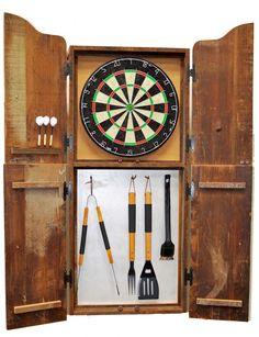 TROOPS BBQ Reclaimed Barn Wood Dart Board U0026 Grill Accessory Cabinet