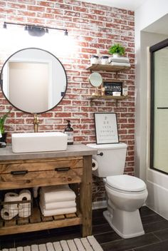 DIY Faux Brick Wall Accent brick bathroom wall Achieve this loo… – Home Decor On a Budget Bathroom Brick Bathroom, Diy Bathroom Decor, Bathroom Renos, Diy Home Decor, Accent Wall In Bathroom, Master Bathroom, Small Bathroom, Bathroom Cabinets, Bathroom Wall Ideas