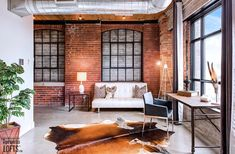 Broadview Lofts-68 Broadview Ave #316 | Rare offering - 1100+ sf 1 bedroom + den authentic brick & beam loft with 10.5 ft high factory wood ceilings, exposed brick walls, large original windows & concrete floors. | More info here: torontolofts.ca/broadview-lofts-lofts-for-sale/68-broadview-ave-316 Exposed Brick Walls, Wood Ceilings, Concrete Floors, Lofts, Beams, Den, Windows, Patio, Flooring