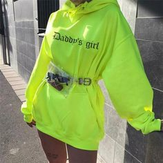 long sleeve hooded letters print loose long casual tops autumn winter women fashion christmas sweatshirt hoodies Size S Color Green Neon Outfits, Edgy Outfits, Mode Outfits, Grunge Outfits, Summer Outfits, Girl Outfits, Fashion Outfits, Fashion Trends, Fashion 2018