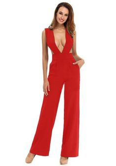 dba4ee934d6 Red Cut Out Pockets Elastic Waist Long Jumpsuit