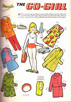 Go Girl paper doll set from BUNTY Magazine, Esse eu vou imprimir e cortar, hehe. Vintage Paper Dolls, Vintage Toys, Paper Toys, Paper Crafts, Cardboard Crafts, Newspaper Paper, Retro Toys, Free Paper, Doll Toys