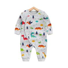 9062b5f25d81 Check out my new Allover Adorable Dinosaur Pattern Long Sleeve Snap-up  Jumpsuit in Grey for Baby and Newborn