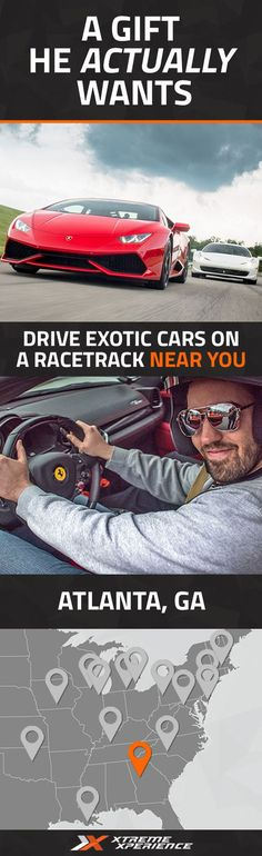 It's never been easier to give a gift to the guy who has everything. Driving a Ferrari, Lamborghini, Porsche or other exotic sports car on a racetrack is a unique gift idea that is guaranteed to leave a smile on his face, a good story to tell and a life-long memory. Xtreme Xperience brings the thrill of a lifetime to you at a racetrack in Atlanta from November 11-13, 2016. Reserve your SupercarTrack Xperience today for as low as $219. Space is limited!