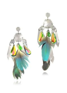 Anabela Chan Crystals and Feather Drop Earrings