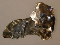 Metal Wall Sculpture of Lion and Lamb by SteelWonders on Etsy