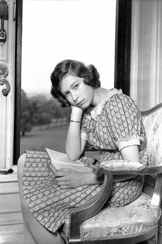 Princess Elizabeth reading at Windsor Castle, Berkshire, 22 June 1940, nearly a year into the Second World War.