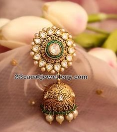 Green Polki Pendant Polki Jhumkas - Jewellery Designs #GoldJewelleryDesign
