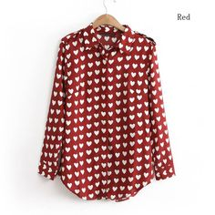 Sz s L Womens Chiffon Top Heart Dot Pattern Long Sleeve Shirt Blouse Tunic 5320 | eBay