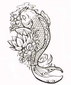 cluster flower with koi fish design for tattoo - Google Search