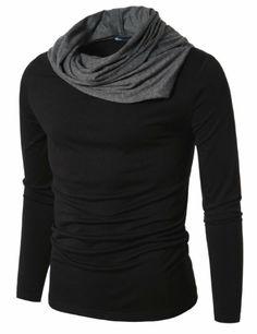Amazon.com: Doublju Mens Turtle Neck with Shirring Detail: Clothing 17.99
