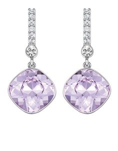 Lord and Taylor ~ SWAROVSKI Artisan Silver Tone and Lilac Crystal Drop Earrings